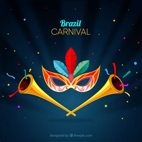 Carnival Background With Trumpets Vector Free Download Carnival Free