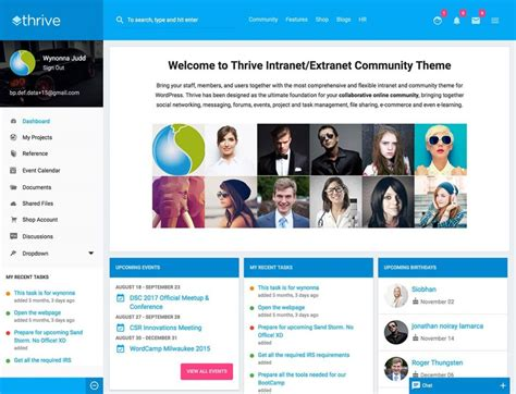 Best Intranet Wordpress Themes 2018 Fro Intranet Website Intranet Page Template