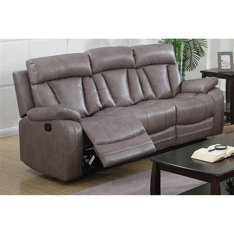 modesto reclining leather air sofa gray dcg stores
