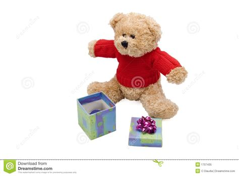 teddy bear and gift royalty free stock photo image 1707435