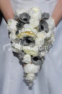 Poppy Flower Bouquet - ivory amp grey teardrop bridal bouquet w roses peonies