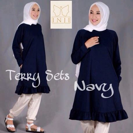 Agoest Pant Brown terry navy baju muslim gamis modern