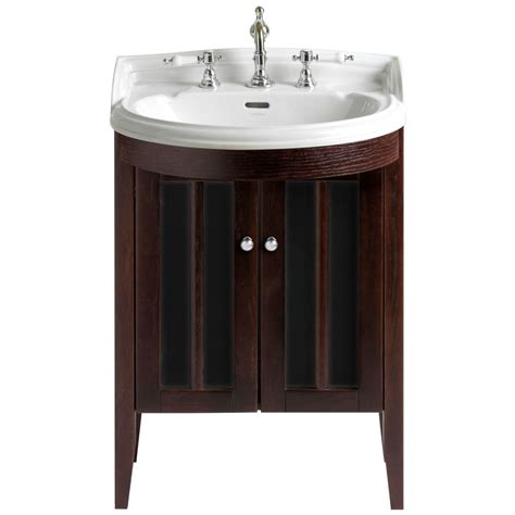 Heritage Bathroom Furniture Heritage Hidcote Freestanding Medium Bowfront Vanity Unit Walnut Finish