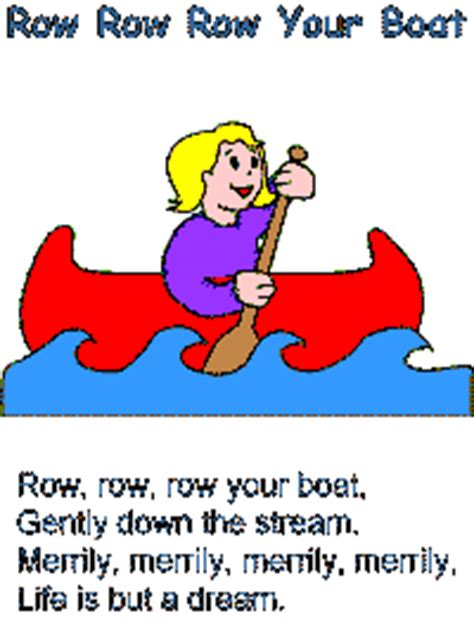 row your boat kindergarten transportation songs and poems