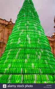 christmas tree made from recycled plastic bottles in