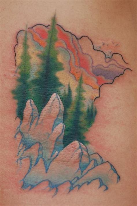 mn tattoo minnesota outline landscape by chris krapohl tattoos