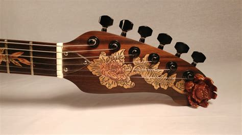 Handmade Electric Guitars - floral ornament handmade electric guitar with hardshell