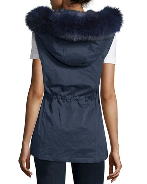 Ivora Drawstring Vest In Navy pologeorgis twill fur trim drawstring vest navy