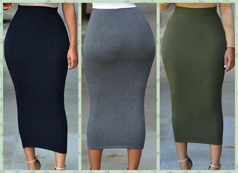 cheap solid black grey green cotton maxi skirt