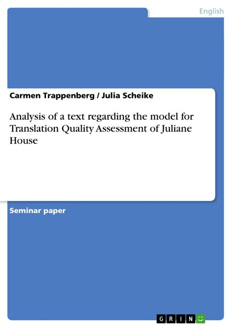 thesis on translation quality assessment analysis of a text regarding the model for translation
