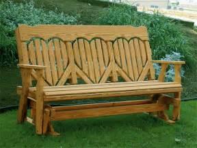 Wooden Glider Bench Amish Pine Wood High Back Heart Outdoor Glider Bench