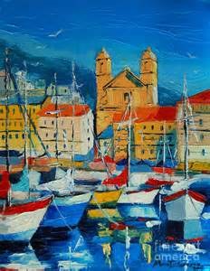 Island Shower Curtain Mediterranean Harbor Painting By Mona Edulesco