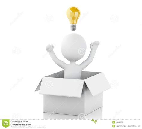 3d white people with light bulb in box thinking concept