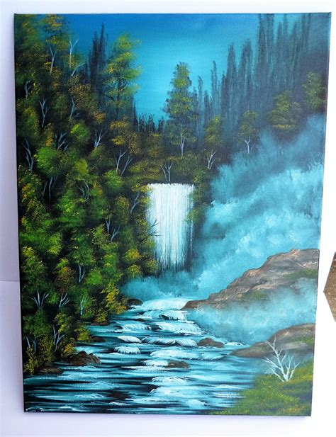 bob ross painting a waterfall bob ross style painting winter wilderness alaska waterfall