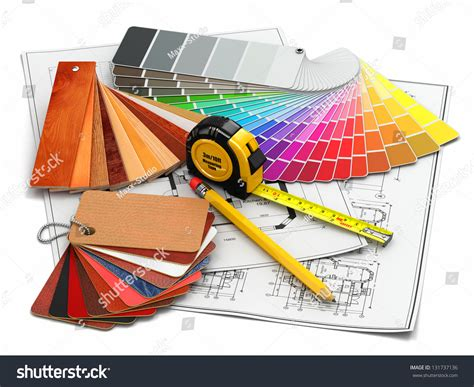 interior designer tools interior design architectural materials measuring tools stock illustration 131737136