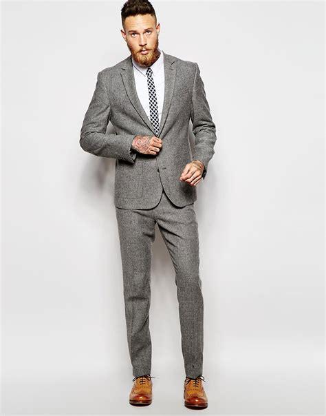 Slim Fit Atasan Formal Casual O Black Ot Kaos T Shirt Pria asos slim fit suit in grey tweed at asos
