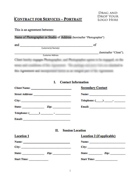 Portrait Photography Contract Free Printable Documents Portrait Photography Contract Template