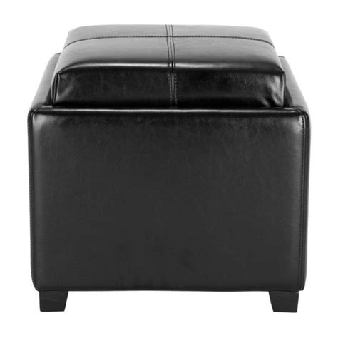 black tray ottoman safavieh harrison single tray leather tray ottoman in