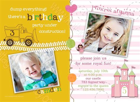 printable joint birthday party invitations 13 best images about kids birthday party on pinterest