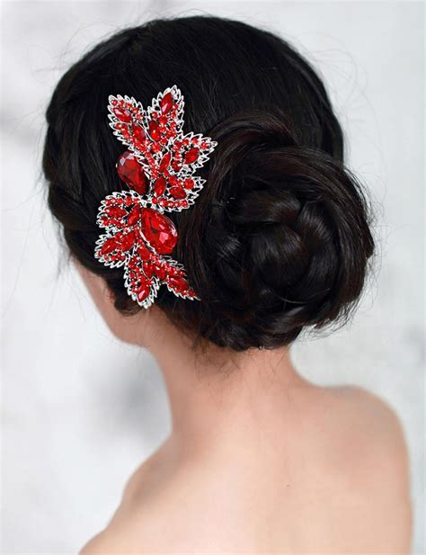 Luxury Bridal Hair Accessories Wedding Hair Comb Red