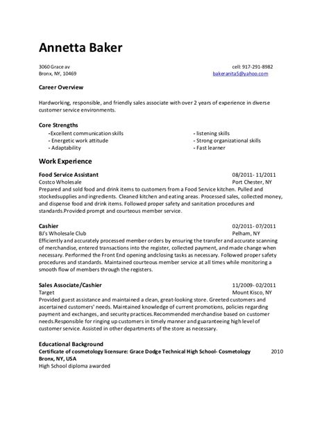 Bakery Assistant Sle Resume by Annetta Baker Resume