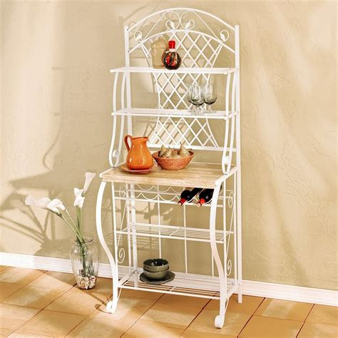 Bakers Rack White by Shop Boston Loft Furnishings Darley White Rectangular Bakers Rack At Lowes