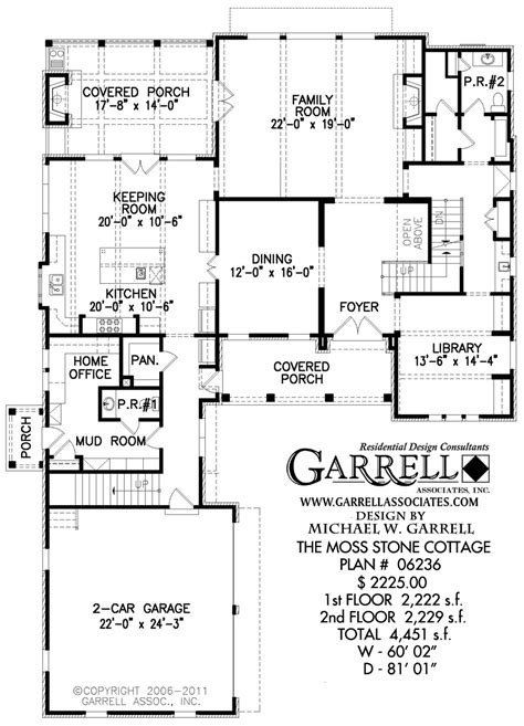 cottage home floor plans moss cottage house plan house plans by garrell associates inc