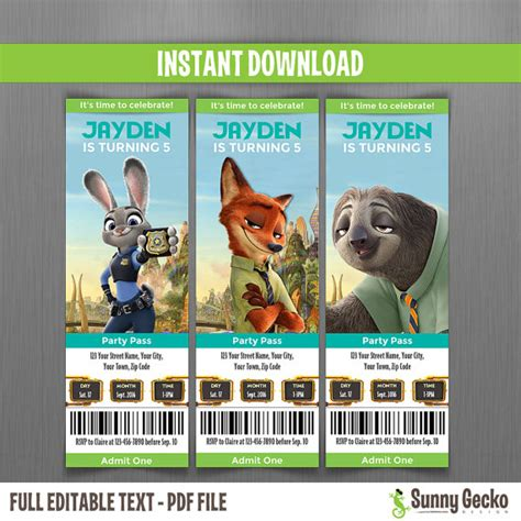 printable zootopia invitations zootopia birthday ticket invitations instant download