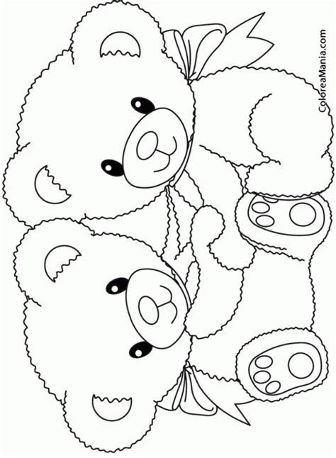 imagenes para colorear ositos colorear dos ositos abrazados peluches dibujo para