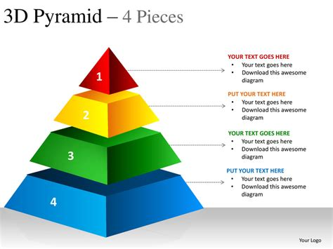 Powerpoint Pyramid Template 3d pyramid 4 pieces powerpoint presentation templates