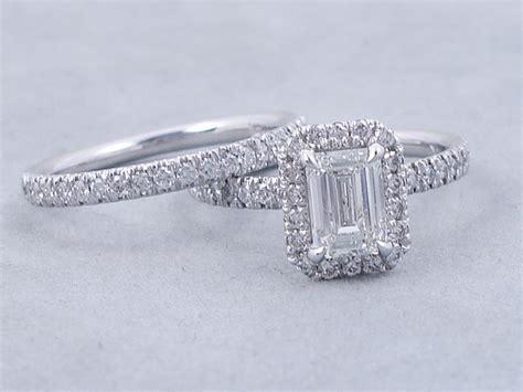 Ctw Emerald Cut Diamond  Ee  Wedding Ee   Ring Set G Vs