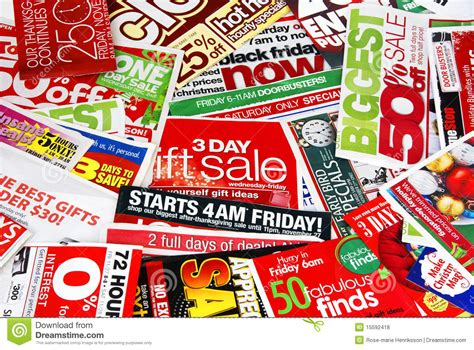 sale advertising papers stock photo image of nobody