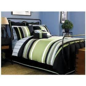 Lakeview comforter green blue and white stripe teen bedding