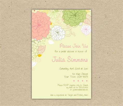 bridal shower menu template free wedding shower invitation templates weddingwoow