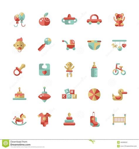 design icon cute set of flat design pastel cute baby icons stock vector
