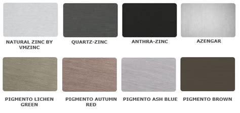 what color is zinc zinc architectural panel systems