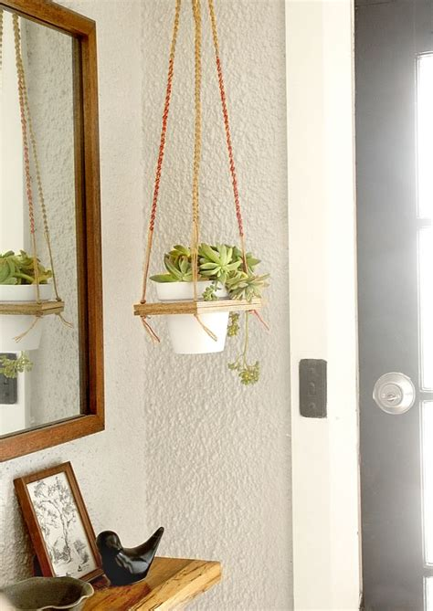 diy macrame hanging plant shelf
