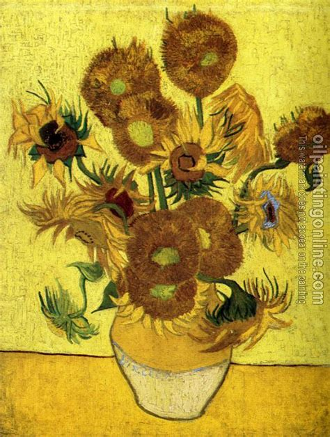 Fourteen Sunflowers In A Vase by Gogh Vincent Vase With Fourteen Sunflowers Canvas