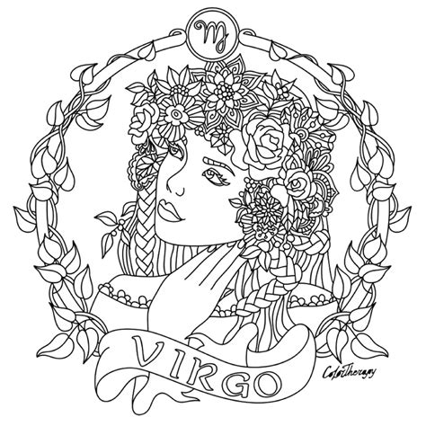 printable zodiac coloring pages virgo zodiac beauty colouring page coloring fun