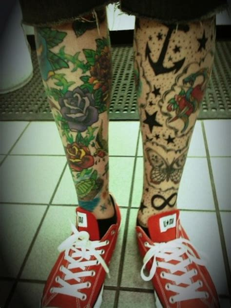 full both legs tattoo design for men busbones