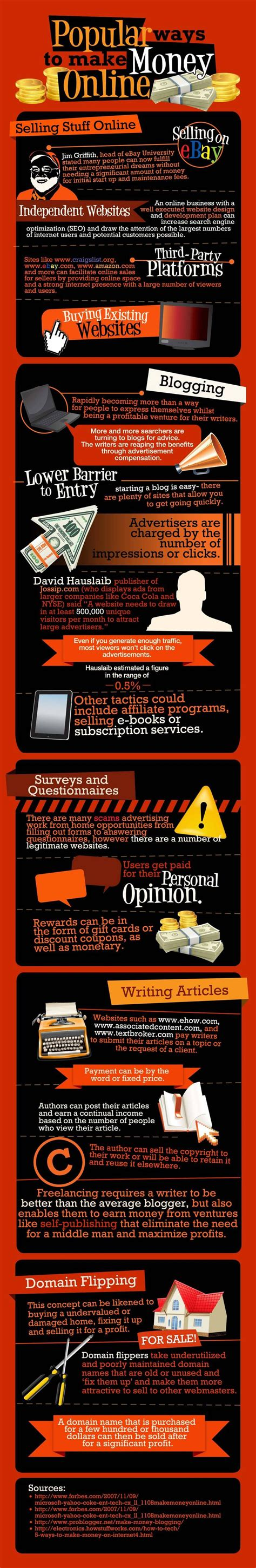 Money Making Online - ways for money making online infographic