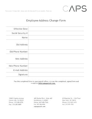 employee address change form template fillable employee address change form caps