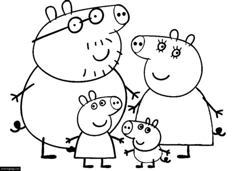 Peppa Pig And Family Coloring Page For Kids Printable Peppa Pig Coloring Pages