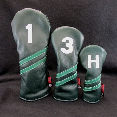 collegiate style forest green leather headcover