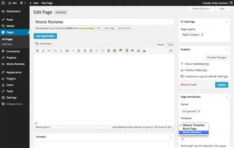 change word default template creating custom post types in themes