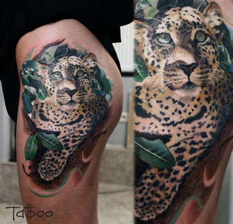 leopard tattoo realistic leopard hip best design ideas