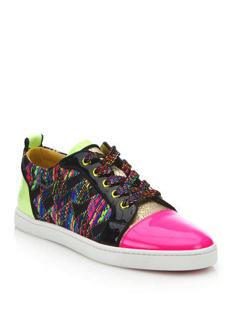 christian sneakers christian louboutin neon woven sneakers lyst