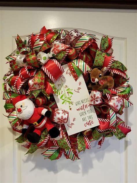 christmas wreath singing reindeer wreath front door