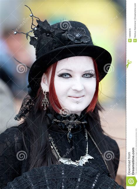 commercial goth girl medieval girl at wave gotik treffen editorial stock image