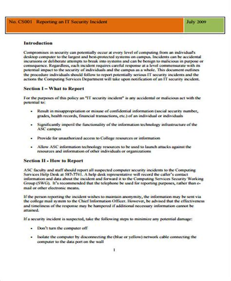 Information Technology Incident Report Template